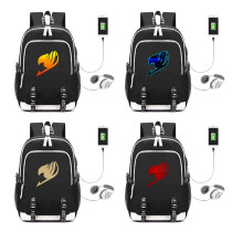 Kpop Anime Fairy Tail Peripheral School Bag USB Charging Backpack Fashion Canvas Bag