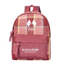 Kpop EXO Six Series BAEK HYUN CHAN YEOL Schoolbag Korean Tri-color Lattice Backpack Canvas Bag