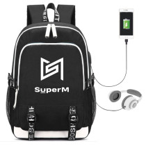Kpop Super M School Bag USB Charging Backpack Fashion Canvas Bag KAI LUCAS MARK