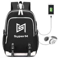 Kpop Super M School Bag USB Charging Backpack Fashion Canvas Bag KAI LUCAS MARK