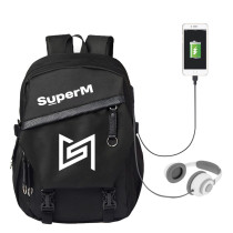 Kpop Super M School Bag USB Charging Backpack Fashion Canvas Bag KAI LUCAS MARK TEN