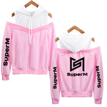 Kpop SuperM Hooded Sweatshirt Plus Velvet Thin Jacket Korean Off-shoulder Hoodie KAI MARK LUCAS