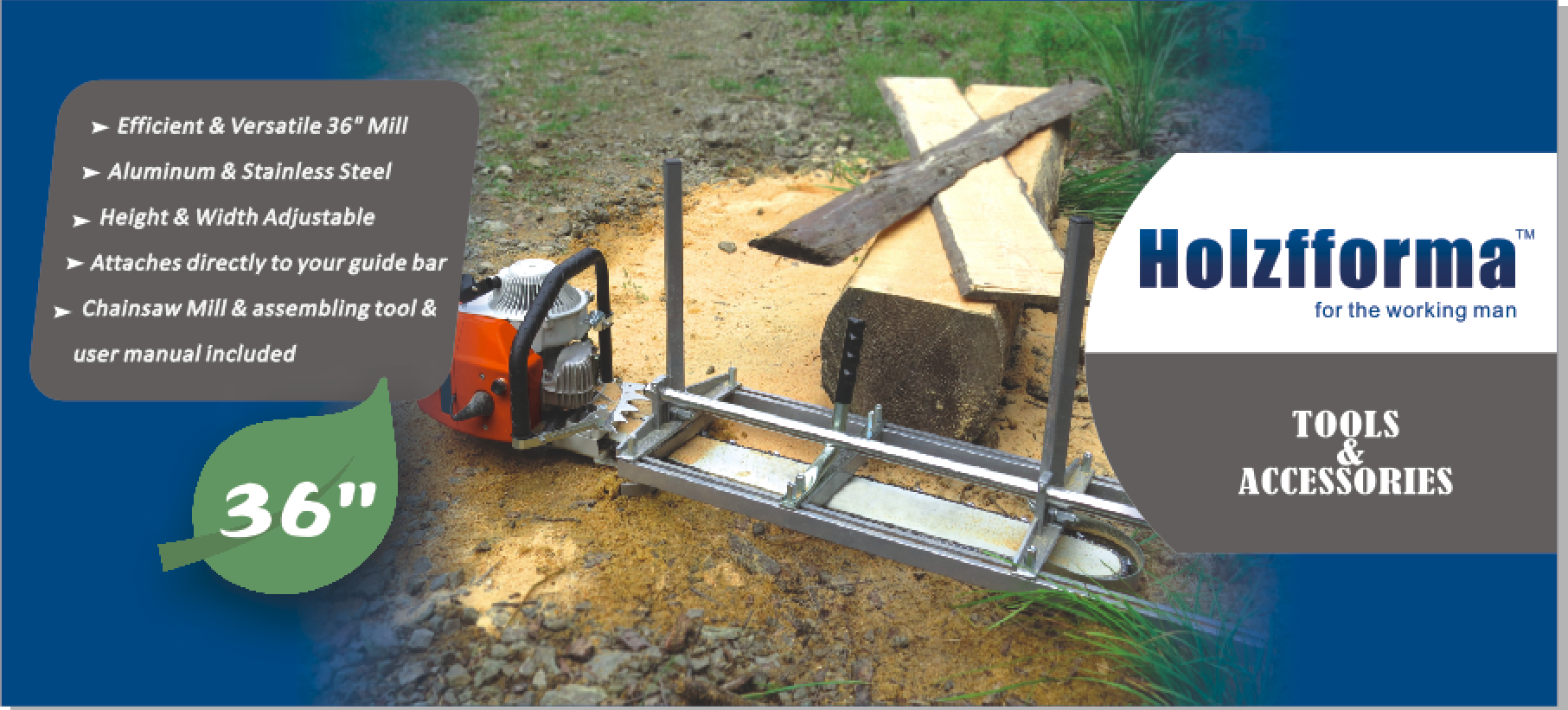 36 Inch Holzfforma Portable Chainsaw Mill Planking Milling From 14 Husqvarna 325 Engine Diagram Note The And Guide Bar Are Not Included