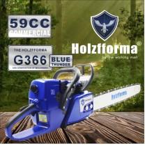 59cc Holzfforma® Blue Thunder G366 Scie à chaîne pour essence Tête motrice uniquement sans barre de guidage et pièces de chaîne de scie compatibles avec la tronçonneuse MS361