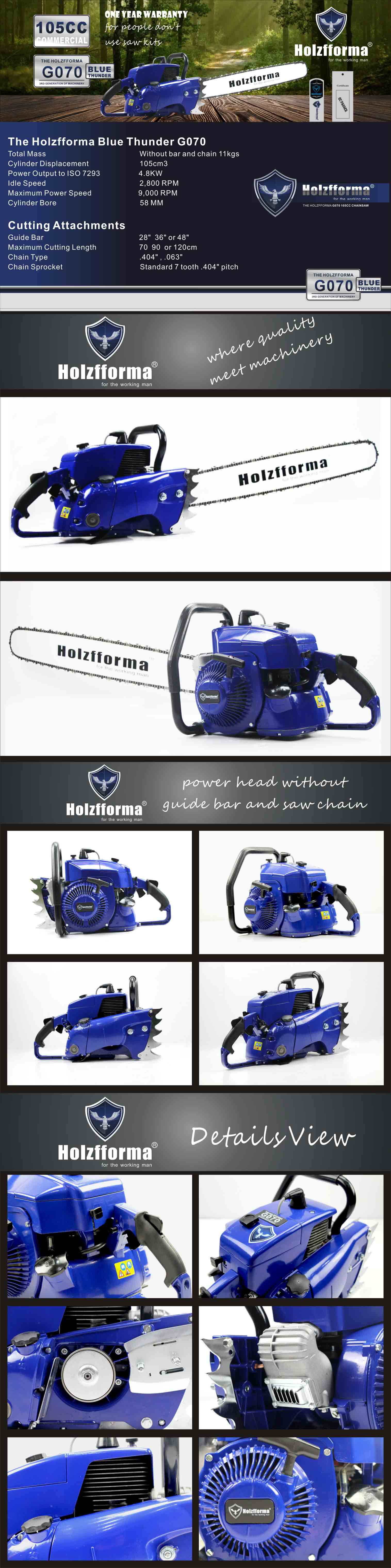 105cc Holzfforma® Blue Thunder G070 Gasoline Chain Saw Power Head Only  Without Guide Bar and Saw Chain All Parts Are Compatible With 070 090  MAGNUM