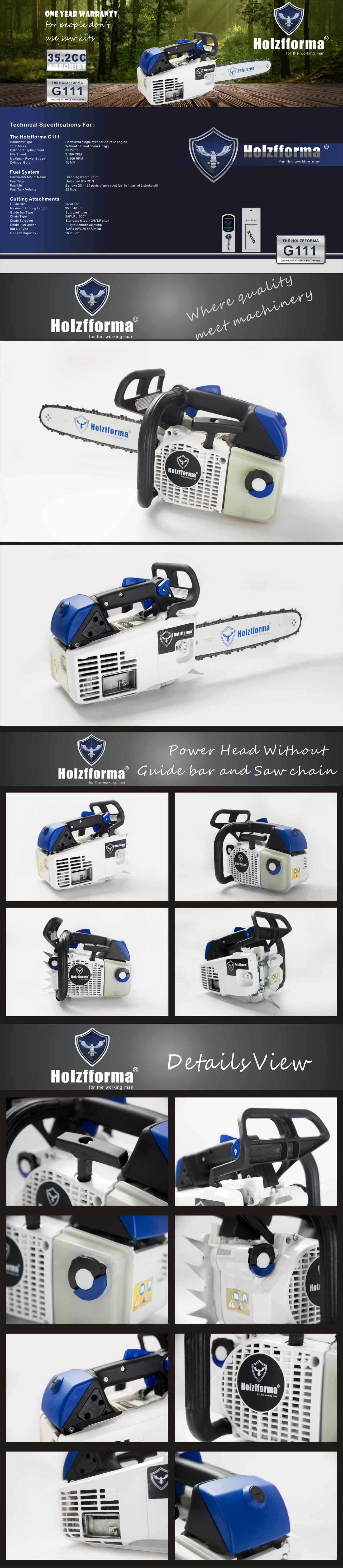 35 2cc Holzfforma® G111 Top Handle Gasoline Chain Saw Power Head Only  Without Guide Bar and Saw Chain All Parts Are Compatible With MS200T 020T