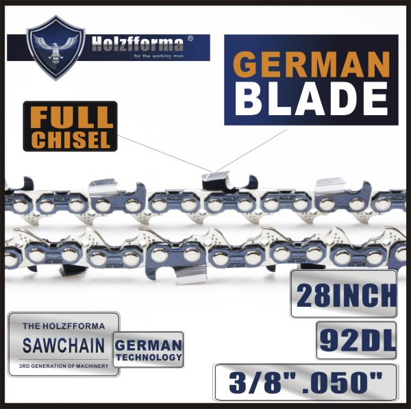 Holzfforma® 28 inch 3/8 .050 92DL Full Chisel Saw Chain German Blade For Many Chainsaws Stihl Husqvarna Jonserd Oleomac Mcculloch Craftsman Echo Homelite Poulan