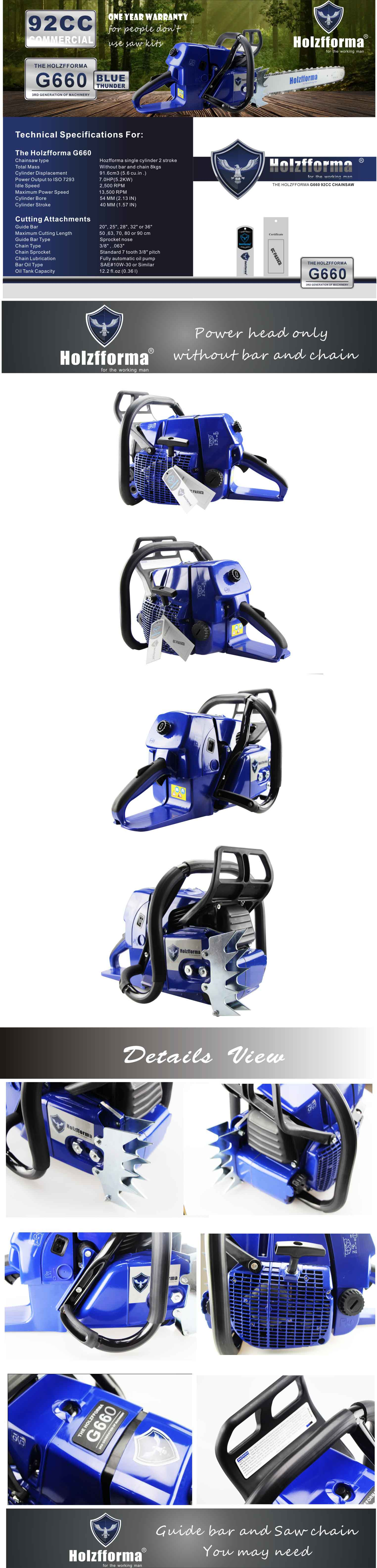 92cc Holzfforma® Blue Thunder G660 Gasoline Chain Saw Power Head Without  Guide Bar and Chain Top Quality By Farmertec One year warranty All parts  are