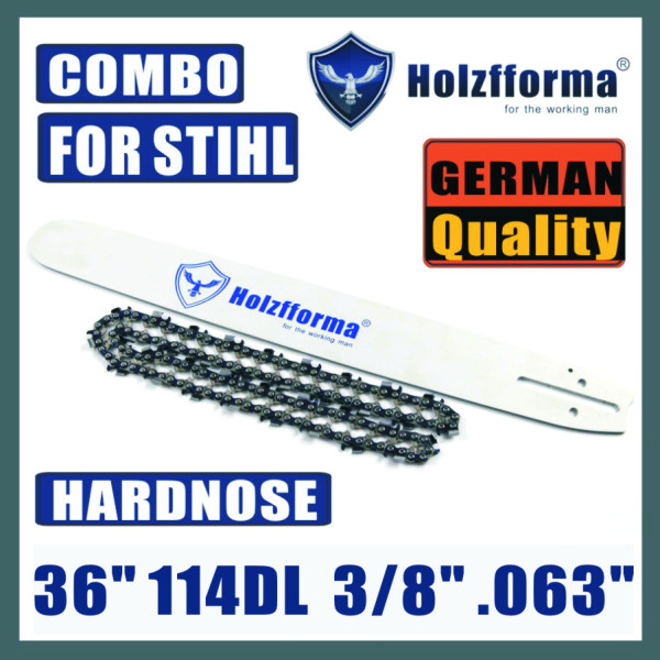 Holzfforma® 36inch 3/8 .063 114DL Hard Nose Bar & Full Chisel Saw Chain Combo For Stihl MS440 MS441 MS460 MS461 MS660 MS661 MS650 044 066 065 Chainsaw