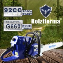 92cc Holzfforma® Blue Thunder G660 Gasoline Chain Saw Power Head Without Guide Bar and Chain Top Quality By Farmertec One year warranty All parts are compatible with MS660 066 Chainsaw