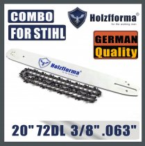 Holzfforma® 20inch Guide Bar & Full Chisel Saw Chain Combo 3/8  .063  72DL For Stihl Chainsaw MS361 MS362 MS380 MS390 MS440 MS441 MS460 MS461 MS660 MS661 MS650