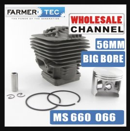 Farmertec® ALL'INGROSSO MOQ 20 NOS Big Bore 56mm Cylinder Piston Kit per Stihl 066 MS660 Motosega 1122 020 1209 Con anello elastico Anello di sicurezza