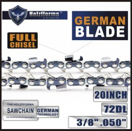 Holzfforma® 20 inch 3/8 .050 72DL Full Chisel Saw Chain German Blade For Many Chainsaws Replace Stihl 3676 005 0072, 33RS3-72, 3624 005 0072, Husqvarna 531300441, Oregon D72 72V072, 72LGX072G, 72EXL072