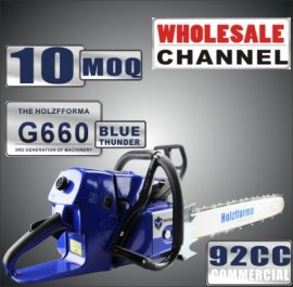 WHOLESALE MOQ 10 Pieces 92cc Holzfforma® Blue Thunder G660 Gasoline Chain Saws Power Head Without Guide Bar and Chain Top Quality By Farmertec One year warranty All parts are compatible with MS660 066 Chainsaw