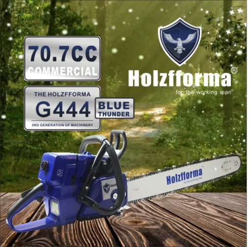 71cc Holzfforma® Blue Thunder G444 Gasoline Chain Saw Power Head Without Guide Bar and Chain Top Quality By Farmertec One year warranty All parts are compatible with MS440 044 Chainsaw