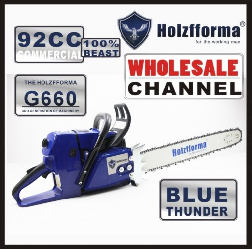 WHOLESALE MOQ 10 NOS 92cc Holzfforma® Blue Thunder G660 Gasoline Chain Saws Power Head Without Guide Bar and Chain Top Quality By Farmertec One year warranty All parts are compatible with MS660 066 Chainsaw