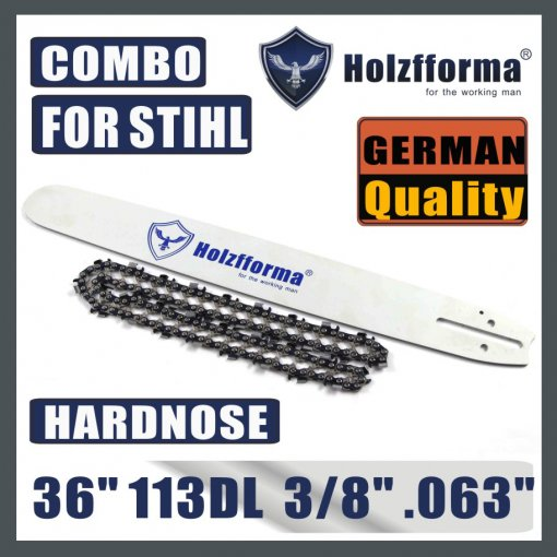 Holzfforma® 36inch 3/8 .063 113DL Hard Nose Bar & Full Chisel Saw Chain Combo For Stihl MS440 MS441 MS460 MS461 MS660 MS661 MS650 044 066 065 Chainsaw