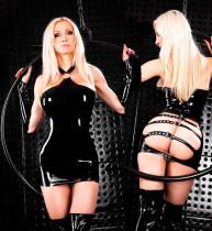 Black Belt Buckle Vinyl Dress TYLM99