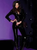 Plus Size Double Zipper Wet Look Black Jumpsuit 1021