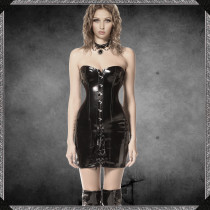Faux Leather Lace Up Strapless Corset Dress 7380