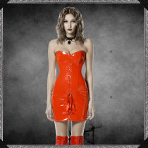 Faux Leather Lace-up Strapless Corset Dress 7380