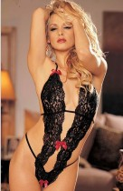 Black Lace Peek-A-Boo Teddy With Bows