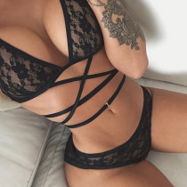 Floral Mesh Strappy Bralette and Panty