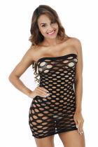 Black Pothole Net Mini Dress 095