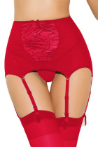 Red Mesh And Lace Garter Belt 1183