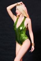 Zip-up Wet Look Bodysuit 6633