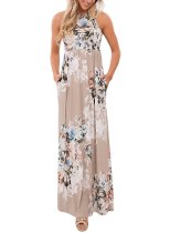 Floral Print Sleeveless Floor Length Boho Dress 0514
