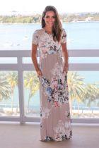 Floral Print Short Sleeve Maxi Dress With Pocket 0494