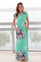 Floral Print Short Sleeve High Waist Maxi Dress 0494