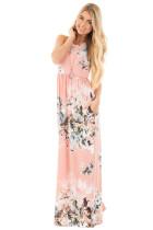 Floral Print Elastic High Waist Side Pocket Maxi Dress 0514