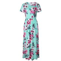 Short Sleeve Empire Flower Maxi Dresses 0493