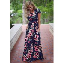 Short Sleeve Blue Floral Print Beach Long Dress With Pocket 0493