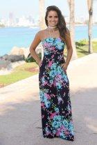 Floral Print Strapless Maxi Boho Dress Blue 0454