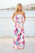 Floral Print Strapless Maxi Boho Dress 0454