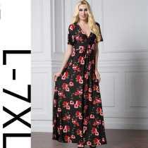 Women Plus Size Long Floral Dress 5064