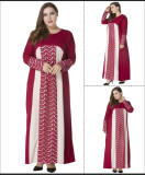 Plus Size Muslim Women Prayer Dress Red 2007