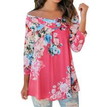 Women Floral Print Off Shoulder 3/4 Sleeve Blouse Rose 6284