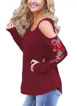 Women Cold Shoulder Rose Embroidered Long Sleeve Loose T- Shirt 092