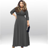 Women's Solid V-Neck 3/4 Sleeve Plus Size Evening Party Maxi Dress 1112