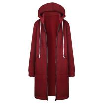 Plus Size Sweater Hoodie Jacket Wine Red 0581