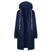 Plus Size Sweater Hoodie Jacket Blue 0581