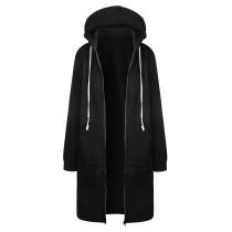 Plus Size Sweater Hoodie Jacket Black 0581