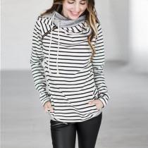 Women Side Zip Striped Hoodie 0598