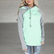 Raglan Sleeve Side Zipper Hoodie Green 0591