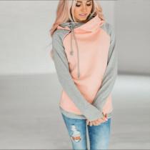 Raglan Sleeve Side Zipper Hoodie Pink 0591