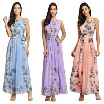 Floral Bohemian Dress With Belt 1333